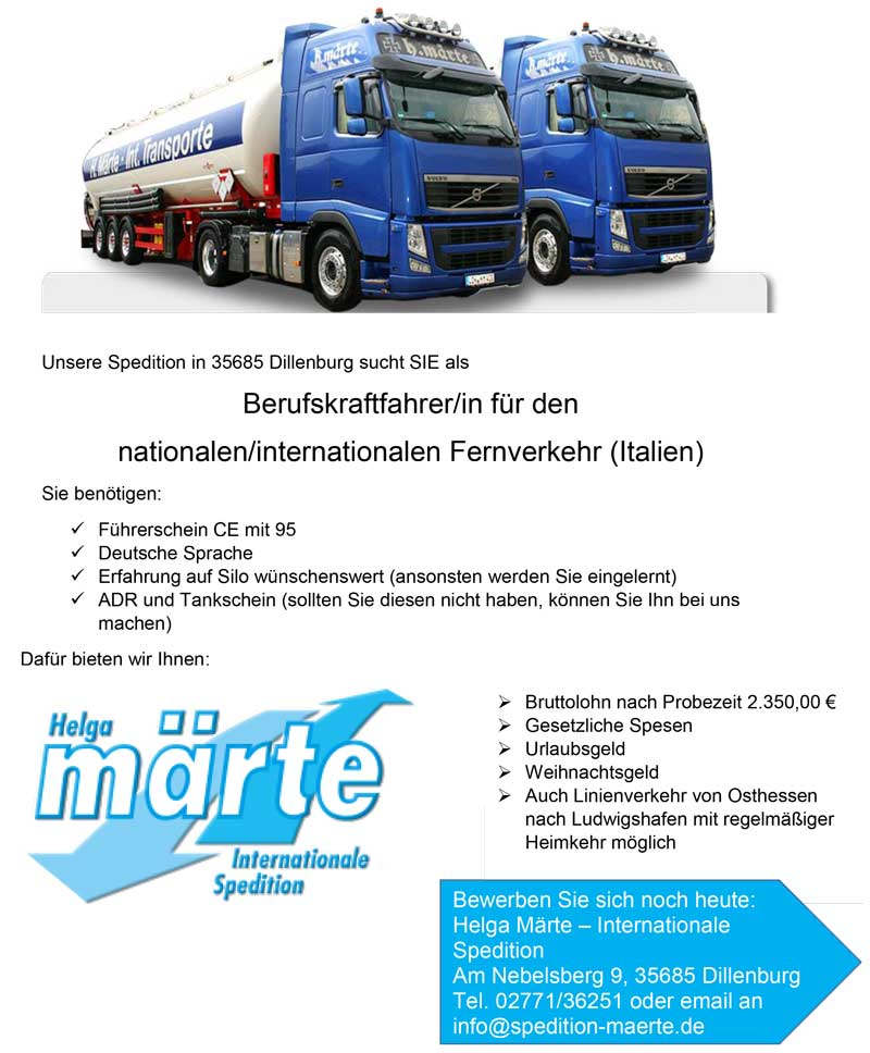 www.trucker-job-boerse.de - Berufskraftfahrer/in für den nationalen ...